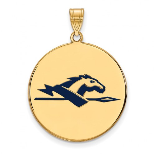 Longwood Lancers Sterling Silver Gold Plated Extra Large Enameled Disc Pendant