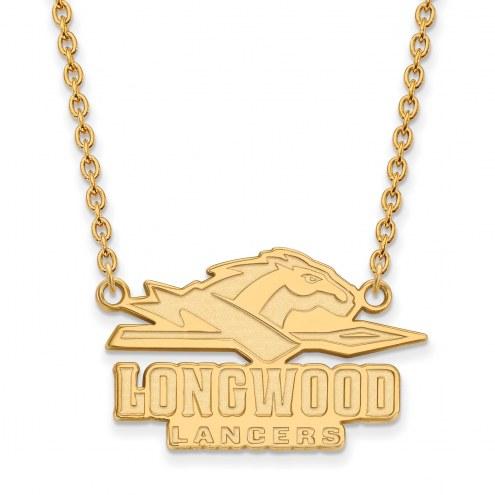 Longwood Lancers Sterling Silver Gold Plated Large Enameled Pendant Necklace