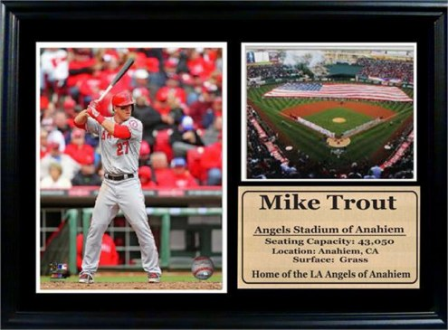 """Los Angeles Angels 12"""" x 18"""" Mike Trout Photo Stat Frame"""