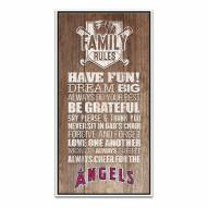 Los Angeles Angels Family Rules Icon Wood Framed Printed Canvas