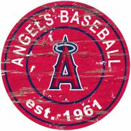 Los Angeles Angels Distressed Round Sign