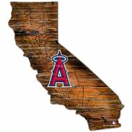 Los Angeles Angels Distressed State with Logo Sign