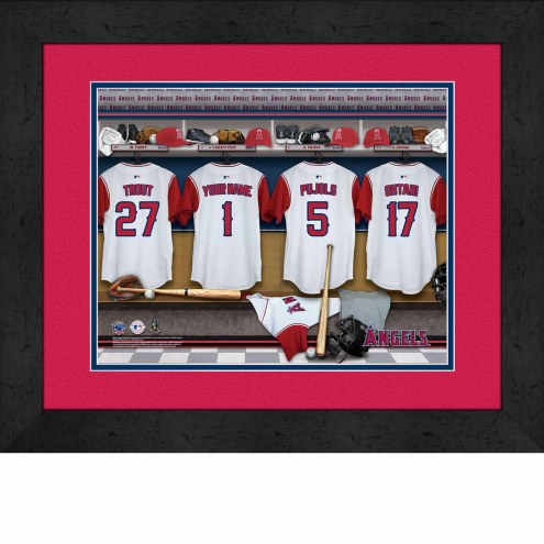 Los Angeles Angels Personalized Locker Room 13 x 16 Framed Photograph