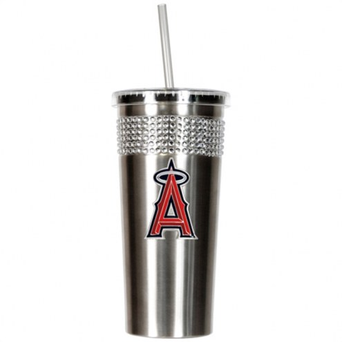 Los Angeles Angels Stainless Steel Bling Tumbler with Straw
