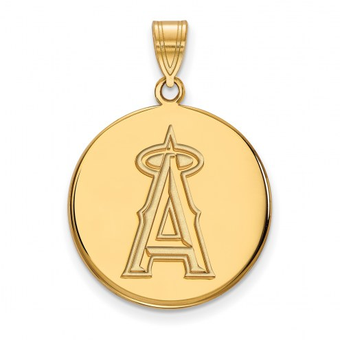 Los Angeles Angels Sterling Silver Gold Plated Large Disc Pendant