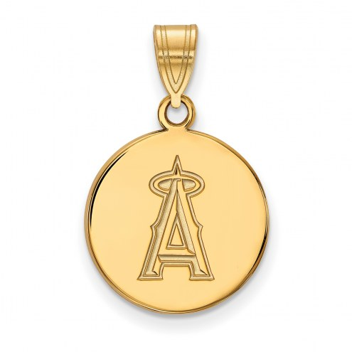 Los Angeles Angels Sterling Silver Gold Plated Medium Disc Pendant