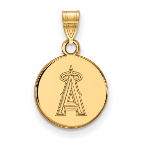 Los Angeles Angels Sterling Silver Gold Plated Small Disc Pendant