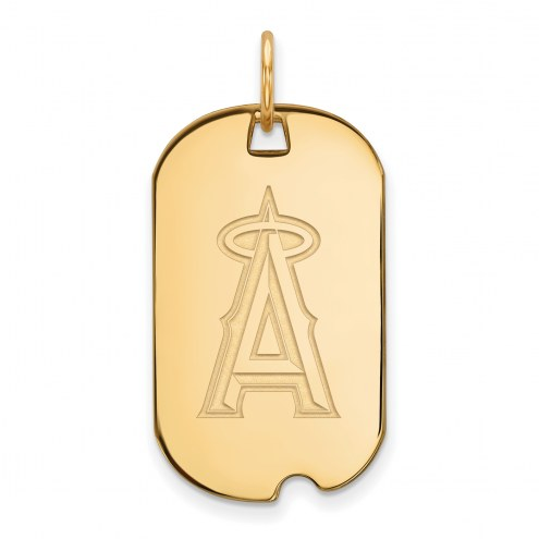 Los Angeles Angels Sterling Silver Gold Plated Small Dog Tag