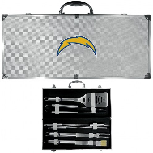 Los Angeles Chargers 8 Piece Stainless Steel BBQ Set w/Metal Case