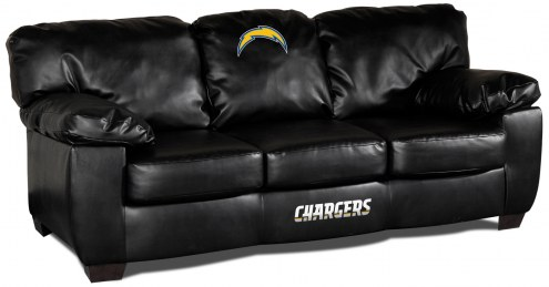 Los Angeles Chargers Black Leather Classic Sofa