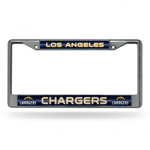 Los Angeles Chargers Chrome Glitter License Plate Frame