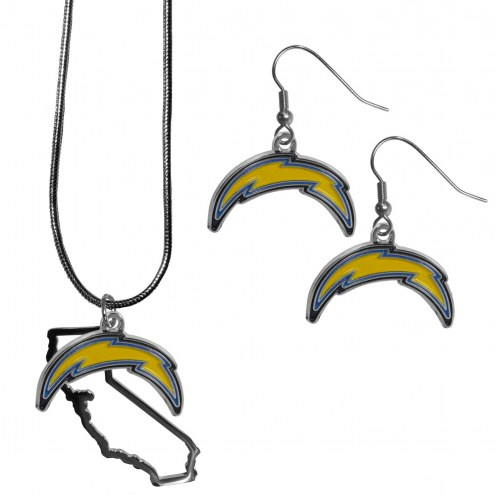 Los Angeles Chargers Dangle Earrings & State Necklace Set