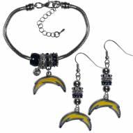 Los Angeles Chargers Euro Bead Earrings & Bracelet Set