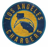 Los Angeles Chargers Round State Wood Sign