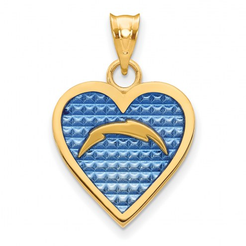 Los Angeles Chargers Gold Plated Enameled Heart Pendant