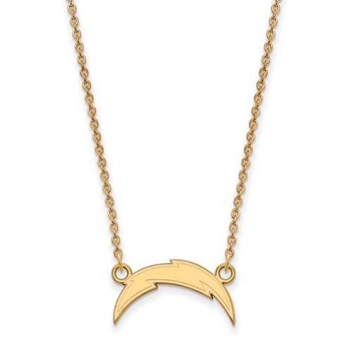 Los Angeles Chargers Sterling Silver Gold Plated Small Pendant with Necklace