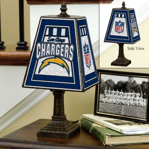 Los Angeles Chargers Hand-Painted Art Glass Table Lamp