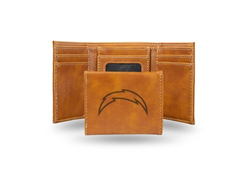 Los Angeles Chargers Laser Engraved Brown Trifold Wallet