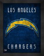 Los Angeles Chargers Retro Logo Map Framed Print