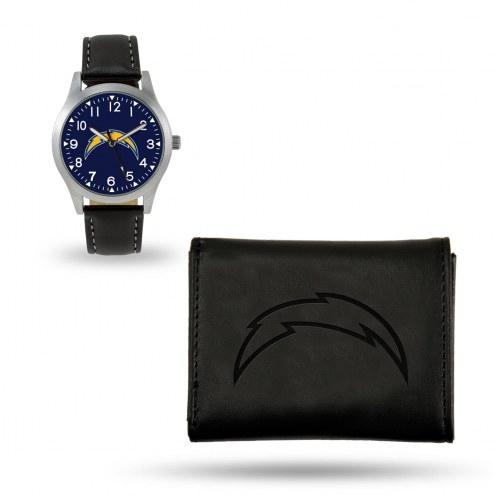 Los Angeles Chargers Sparo Black Watch & Wallet Gift Set