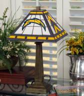 Los Angeles Chargers Stained Glass Mission Table Lamp
