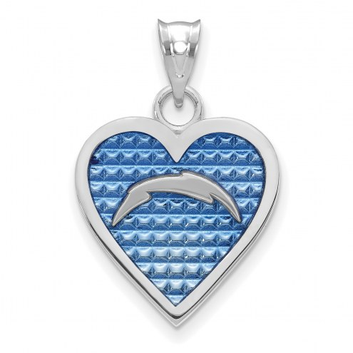 Los Angeles Chargers Sterling Silver Enameled Heart Pendant