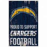 Los Angeles Chargers Proud to Support Wood Sign