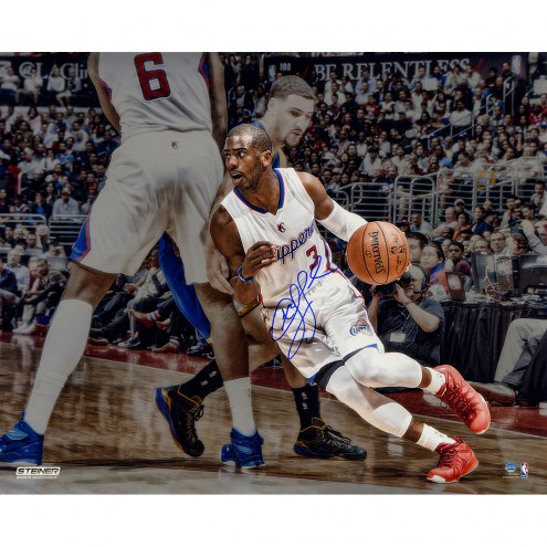 """Los Angeles Clippers Chris Paul Dribbling Around Pick Metallic Signed 16"""" x 20"""" Photo"""