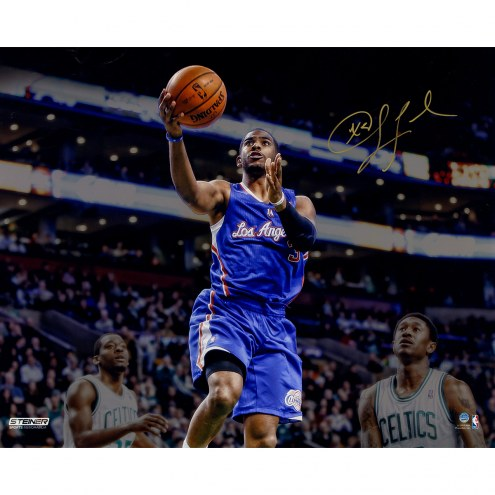 """Los Angeles Clippers Chris Paul Layup Against Boston Celtics Signed 16"""" x 20"""" Photo"""
