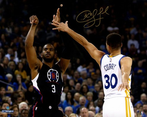 """Los Angeles Clippers Chris Paul Shoots Over Stephen Curry Signed 16"""" x 20"""" Photo"""
