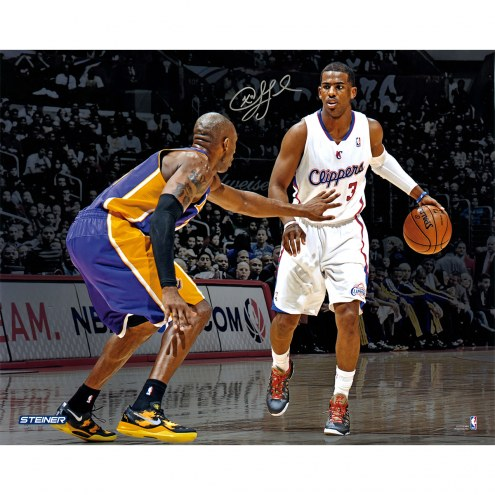 """Los Angeles Clippers Chris Paul vs Kobe Bryant (Signed in Silver) Signed 16"""" x 20"""" Photo"""