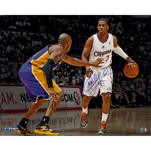 """Los Angeles Clippers Chris Paul vs Kobe Bryant Signed 16"""" x 20"""" Photo"""