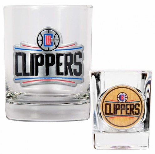 Los Angeles Clippers NBA 14 Oz Rocks Glass & Square Shot Glass 2-Piece Set