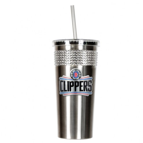 Los Angeles Clippers Stainless Steel Bling Tumbler with Straw