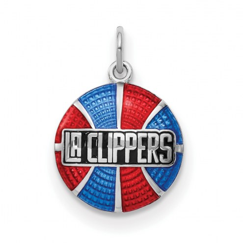 Los Angeles Clippers Sterling Silver Enameled Basketball Pendant