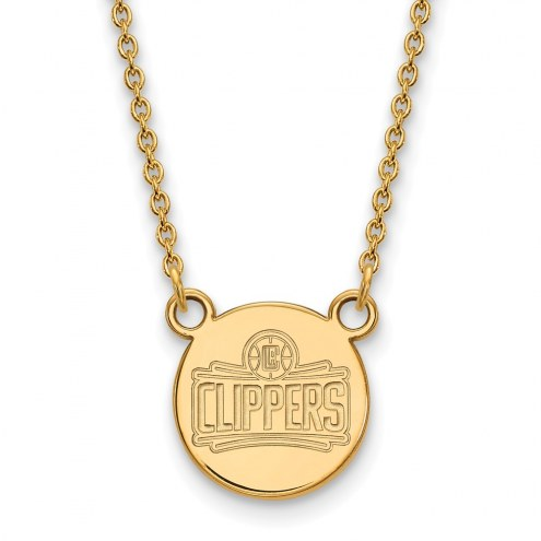 Los Angeles Clippers Sterling Silver Gold Plated Small Disc Pendant