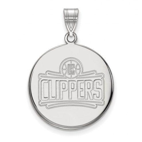 Los Angeles Clippers Sterling Silver Large Disc Pendant