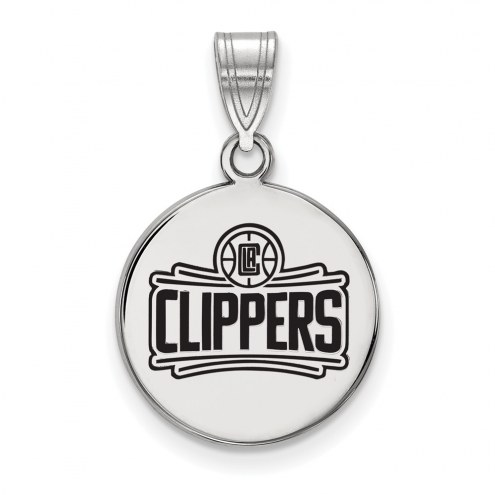 Los Angeles Clippers Sterling Silver Medium Enameled Disc Pendant