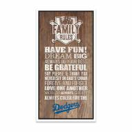 Los Angeles Dodgers Family Rules Icon Wood Framed Printed Canvas