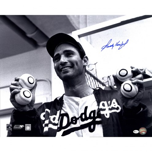 "Los Angeles Dodgers Sandy Koufax Holding Up Baseballs Signed 16"" x 20"" Photo"