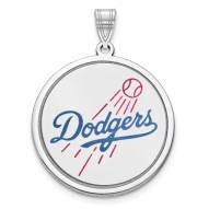 Los Angeles Dodgers Sterling Silver Disc Pendant