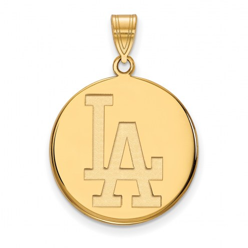 Los Angeles Dodgers Sterling Silver Gold Plated Large Disc Pendant