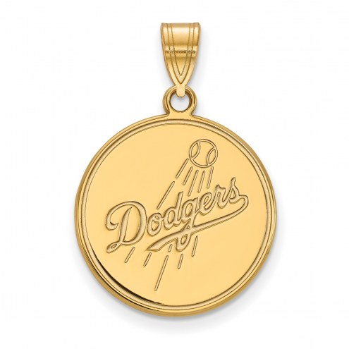 Los Angeles Dodgers Sterling Silver Gold Plated Large Pendant
