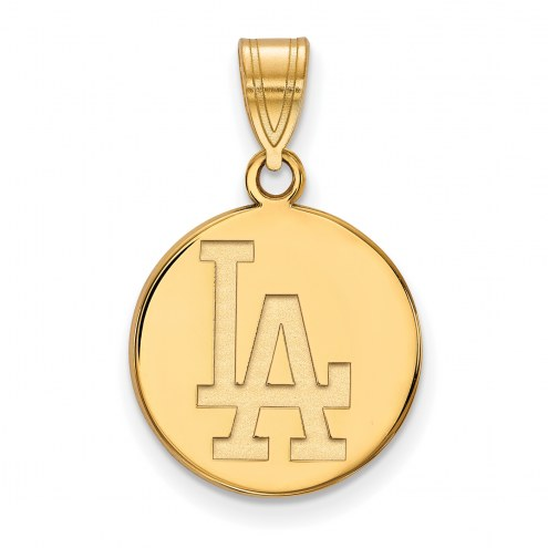 Los Angeles Dodgers Sterling Silver Gold Plated Medium Disc Pendant