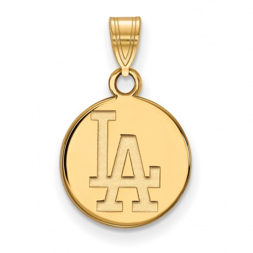 Los Angeles Dodgers Sterling Silver Gold Plated Small Disc Pendant