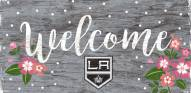 """Los Angeles Kings 6"""" x 12"""" Floral Welcome Sign"""