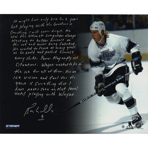 "Los Angeles Kings Bernie Nicholls ""Playing with Wayne"" Story Signed 16"" x 20"" Photo"