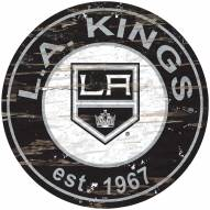 Los Angeles Kings Distressed Round Sign