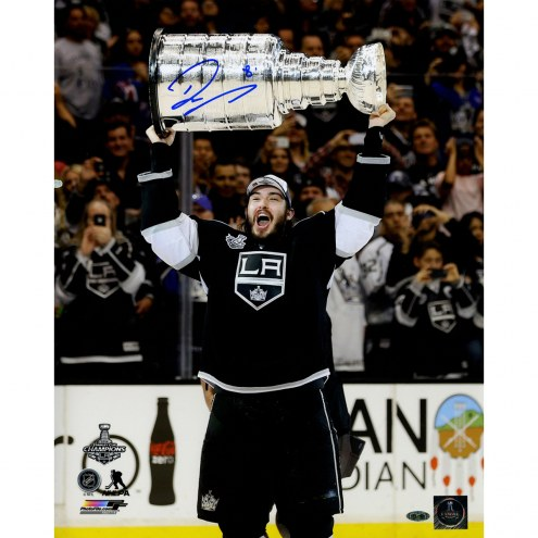 """Los Angeles Kings Drew Doughty 2014 Stanley Cup Overhead Signed 16"""" x 20"""" Photo"""