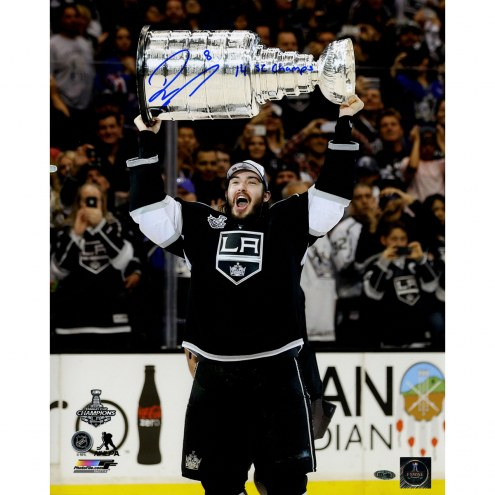 "Los Angeles Kings Drew Doughty 2014 Stanley Cup Overhead w/ ""14 SC Champ"" Signed 16"" x 20"" Photo"